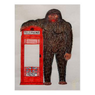 big foot with phonebox, postcard