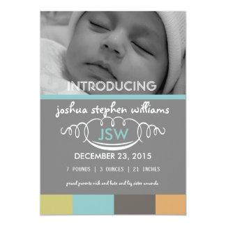 Big four colors baby boy card