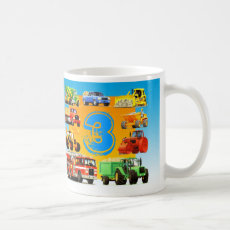 Big Fun Construction Truck Boy's 3rd Birthday Coffee Mug