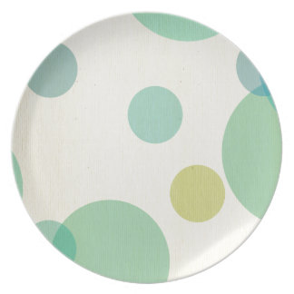 Big, fun, polka dot, multi color fruity, pastels, plates