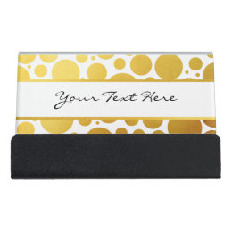 Funky business card holders cases zazzle big funky gold polka dots on white personalized desk business card holder reheart Gallery