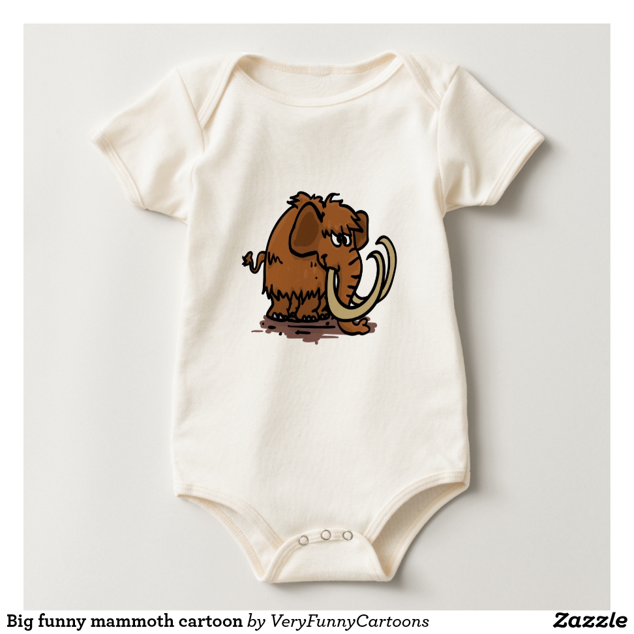 Big funny mammoth cartoon baby bodysuit - Adorable Baby Bodysuit Designs