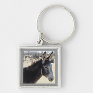 Big Furry Ears Donkey Friend Western Silver-Colored Square Keychain