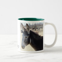 Big Furry Ears - Donkey Horse Animal Rescue Two-Tone Coffee Mug