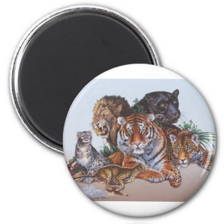 Big Game Cats 2 Inch Round Magnet