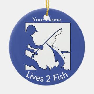 Big Game Fishing in Blue Ceramic Ornament