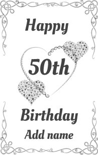 Big Giant Special Pretty 50th Birthday Card