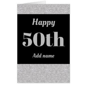Big Giant Stylish Personalised Birthday Card 50th