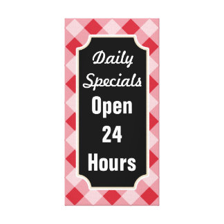 Big Gingham Daily Specials Diner Sign Canvas