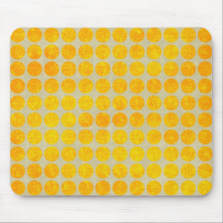 Big Gold Dots Yellow Grungy Polka Dot Print Mouse Pad