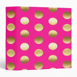 Big Gold Foil Polka Dots Hot Pink 3 Ring Binder