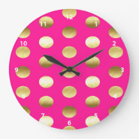 Big Gold Foil Polka Dots Hot Pink Large Clock
