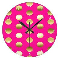 Big Gold Foil Polka Dots Hot Pink Large Clock