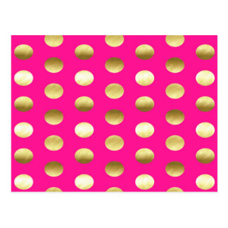 Big Gold Foil Polka Dots Hot Pink Postcard