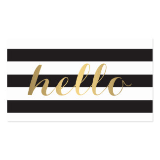 Big Gold Hello Simply Striped Business Card