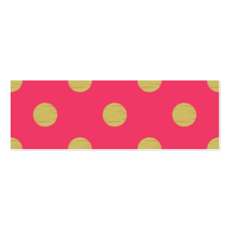Big gold polka dot,hot pink,trendy,girly,cute,fun, Double-Sided mini business cards (Pack of 20)