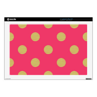 "Big gold polka dot,hot pink,trendy,girly,cute,fun, 17"" laptop skins"