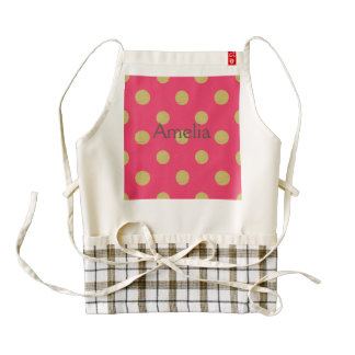 Big gold polka dot,hot pink,trendy,girly,cute,fun, zazzle HEART apron