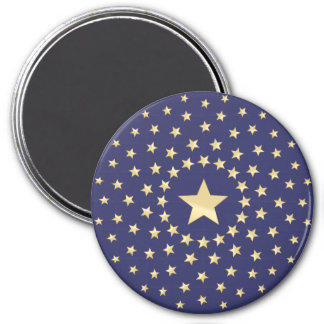Big Golden Star circled by smaller stars 3 Inch Round Magnet