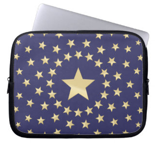 Big Golden Star circled by smaller stars Laptop Sleeve