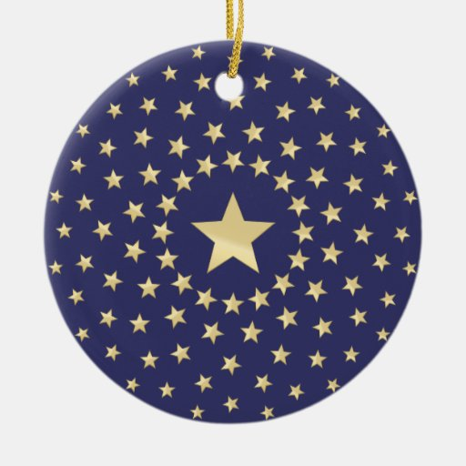 Big Golden Star circled by smaller stars Christmas Tree Ornament