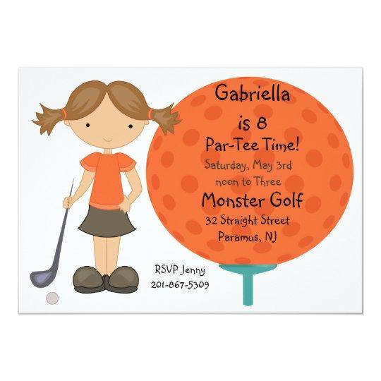 Big Golf Ball Girls Party Invitation