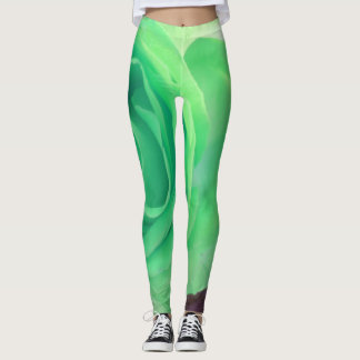 Big green and purple abstract rose pattern leggings