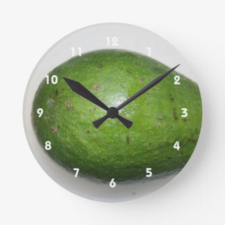 big green avacado fruit picture round clock