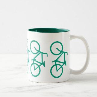 Big Green Bicycle Two-Tone Coffee Mug