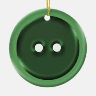 Big Green Button Ceramic Ornament