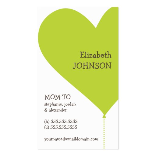 Big green heart trendy mommy business card zazzle for Mommy business cards