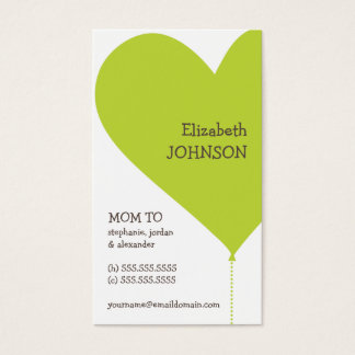 Big Green Heart Trendy Mommy Business Card