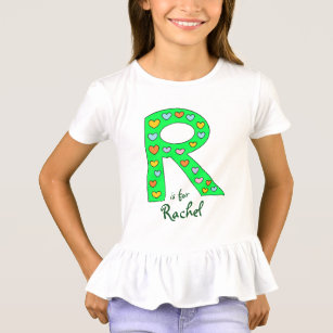 big green letter r design personalized girls name t shirt