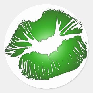 Big Green Lips Classic Round Sticker