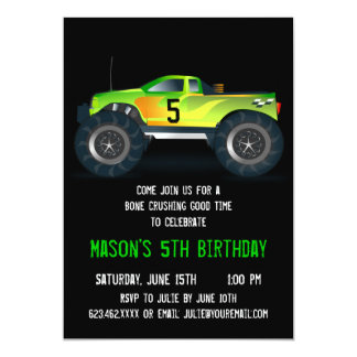 "Big Green Monster Truck Birthday Party Invitations 5"" X 7"" Invitation Card"
