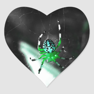 Big Green Orb Spider Heart Stickers