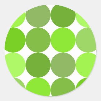 Big Green Polka Dots Classic Round Sticker