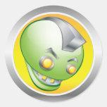 Big Green Robot Head Sticker