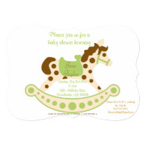 Big Green Rocking Horse Baby Shower Invitation