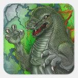 Big Green Scary Daikaiju Square Sticker