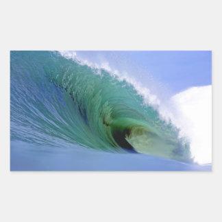 Big green surfing wave Nias paradise island Rectangular Sticker