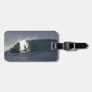 Big green surfing wave tropical coastline bag tag