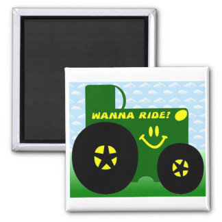 BIG GREEN TRACTOR 2 INCH SQUARE MAGNET