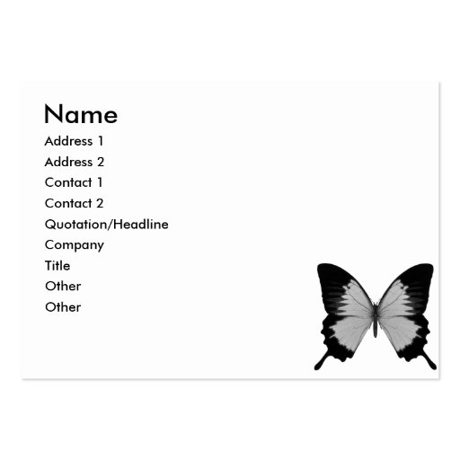 Big Grey & Black Butterfly Business Card