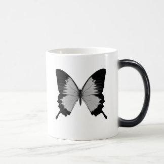 Big Grey & Black Butterfly Magic Mug