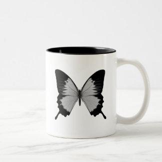 Big Grey & Black Butterfly Two-Tone Coffee Mug