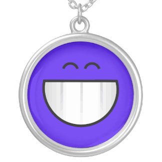 big grin happy face round pendant necklace