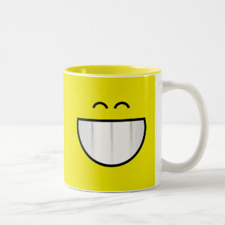 big grin happy face Two-Tone coffee mug