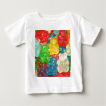 Big gummy bears pattern for big & small,candy,fun baby T-Shirt