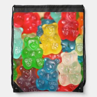 Big gummy bears pattern for big & small,candy,fun, drawstring bag